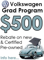 Volkswagen graduate rebate program for new and certified pre owned cars