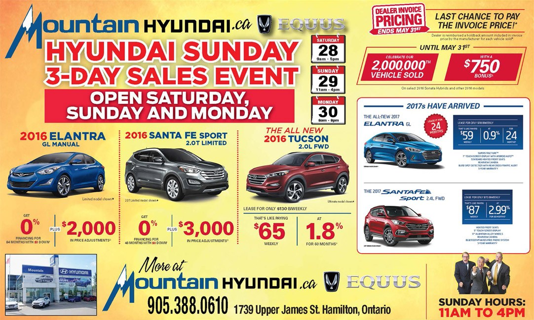 Hyundai Sunday 3 day Sales even, open Saturday to Monday